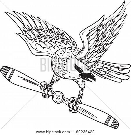 Drawing sketch style illustration of a shrike a carnivorous passerine bird of the family Laniidae clutching propeller blade looking to the side viewed from front set on isolated white background.