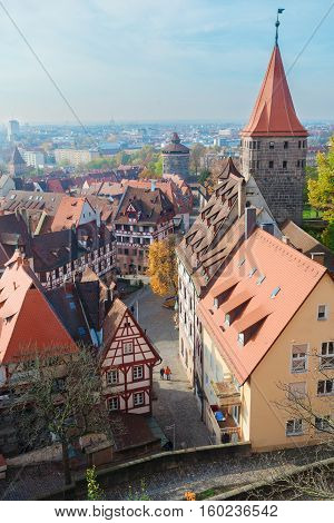 oView of Old town of Nuremberg with city wall, Germany