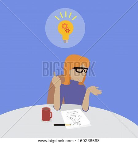 Woman sitting on chair and thinking about the solution of the problem. She has got an idea. Endless work seven days a week. Working moments. Part of series of work at the office. Vector illustration