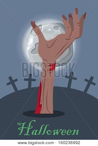 Halloween mystical concept. Zombie hand sticking out from the ground on cemetery the night of the full moon flat vector illustration. Human limb appear from the grave. Undead monsters arises to world