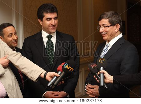 ISTANBUL - MARCH 30: The Press conference Kurdish Democrat Party Vice President Nacirvan Barzani and Foreign Minister Ahmet Davutoglu on March 30, 2010 in Istanbul.