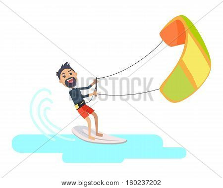 Athlete takes part at kite surfing Spain festival isolated on white. Kitesurfing is style of kiteboarding. Man windsurfing on water surface with air kite. Water sport vector illustration in flat style
