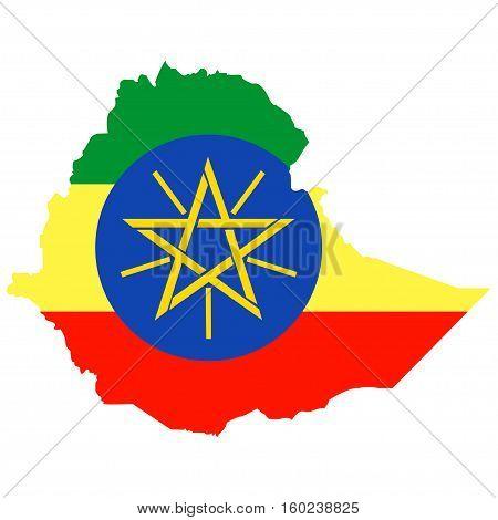 Territory of Ethiopia on a white background