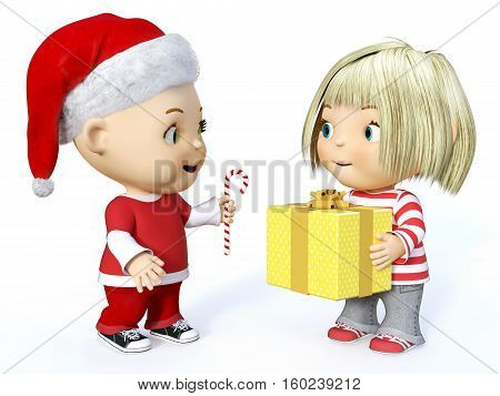 Cute smiling cartoon toddler boy dressed in Santa clothes and a girl holding Christmas gift 3D rendering. White background.