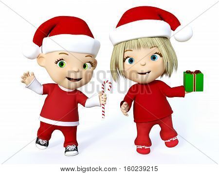 Cute smiling cartoon toddler boy and girl dressed in Santa clothes and celebrating Christmas 3D rendering. White background.