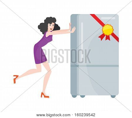Woman buys refrigerator electronic device at big sale for discount price. Household appliances freezer. Fridge home appliances flat style. Icebox, magnet fridge door, sale fridge. Vector illustration