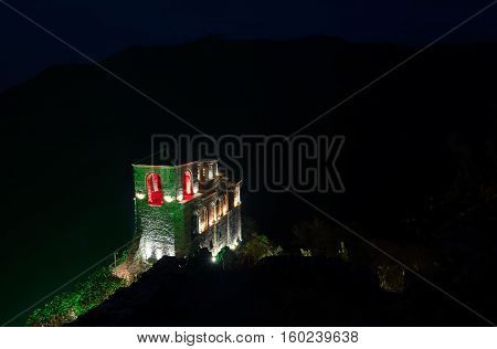 Nightscape around the Asenova Fortress, Asenovgrad, Bulgaria