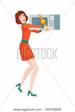 Woman buys microwave oven at sale on discount price. Super sale on kitchen appliances in flat style design illustration. Microwave heats and cooks food by exposing it to microwave radiation. Vector
