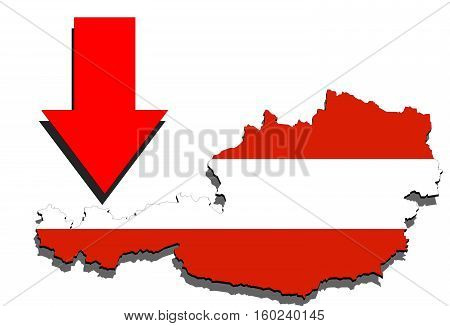 Austria Map On White Background And Red Arrow Down