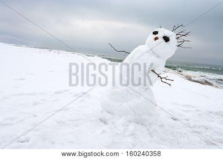 crazy melting snowman on a winter beach