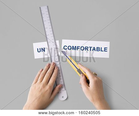 Uncomfortable Hands Cut Split Word Concept