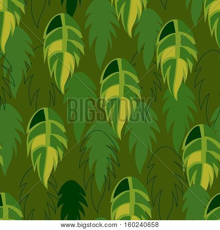 Vector seamless from palm leaves on green.