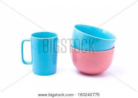 Pink Coffee Cup And Light Blue Bowl And Pink Bowl