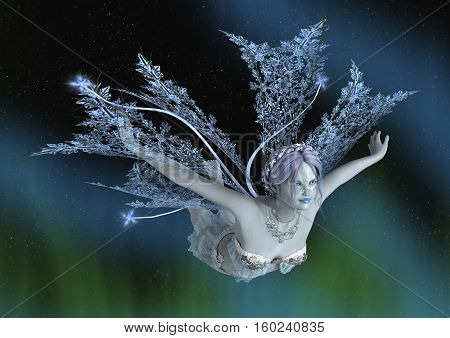 3D rendering of a beautiful winter fairy on a fantasy sky background