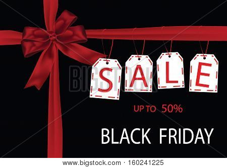 Gift Giving Black Friday sale tag with red ribbon on the black background. vector stock illustration.