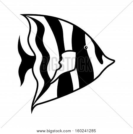 monochrome silhouette with sea fish to striped vector illustration