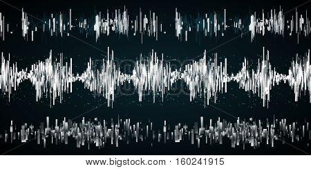 Sound wave set on a dark background. Vector ilustration. Radio concept.