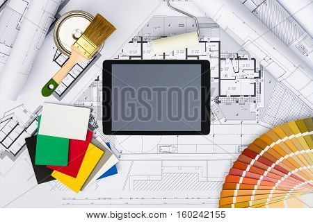 Construction Plans With Whitewashing Tools,colors Palette And Tablet