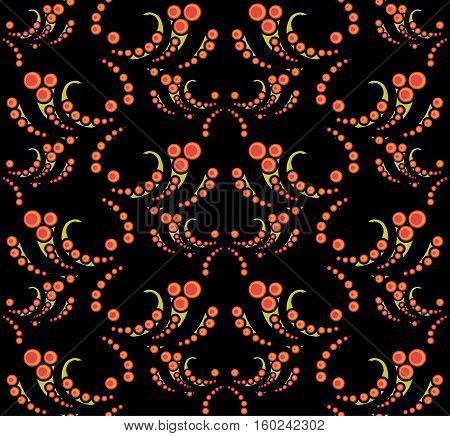 Abstract vector seamless from flowers in black.