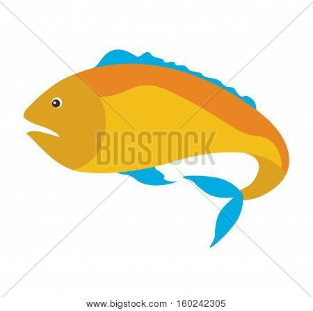 colorful silhouette with sea fish yellow and fins blue vector illustration