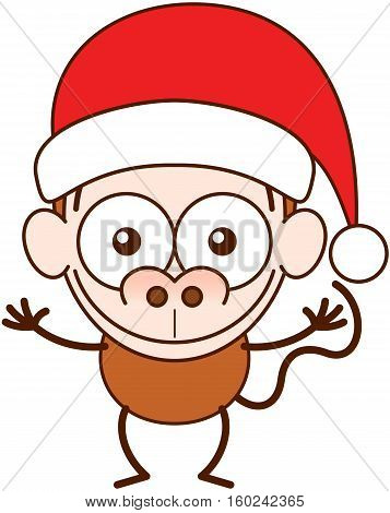 Cute brown monkey with big nose, long tail and wearing a Santa hat while wide opening its eyes, stretching its arms, smiling enthusiastically and greeting