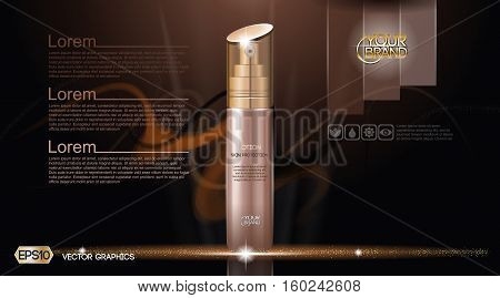 Moisturizing Lotion cosmetic ads template. Hydrating Skin Protection. Mockup 3D Realistic illustration. Sparkling dark background