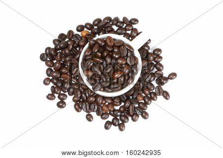 Whole coffee been roasted whole fresh cup on white background
