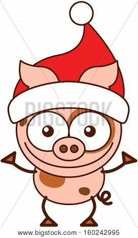 Cute pink pig with pointy ears, spotted skin, curly tail and wearing a Santa hat while wide opening its eyes, stretching its arms, smiling enthusiastically and greeting