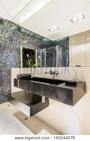 Modern Bathroom With Mosaic Tiles