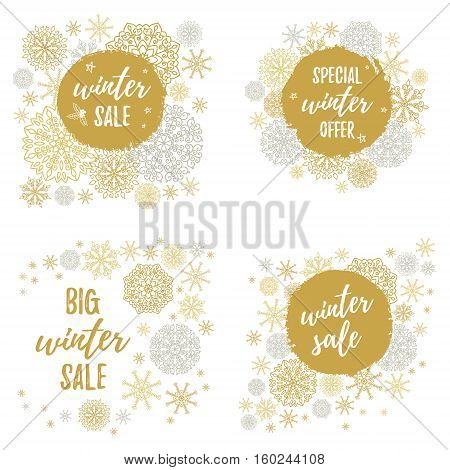 Winter Sale, Big Winter Sale, Special Winter Offer Labels, Banners, Sticker Set. Vector Winter Holid