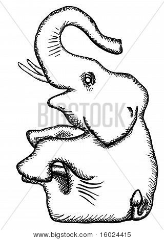 The simplified monochrome drawing - the stylized elephant poster