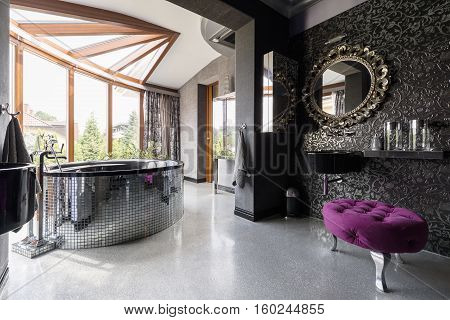 Posh Bathroom With Oval Bath