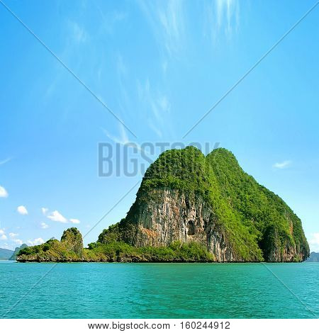 Island in the middle of the sea in Thailand. Thailand island.
