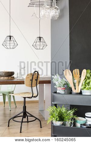 Apartment with communal table industrial lamps chair and kitchen cart