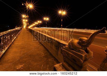 Nightscape of Phaya Mang Rai Bridge in Chiang Rai Thailand