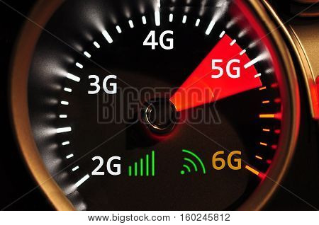 Speedometer and 5G high speed internet high quality and high resolution studio shoot