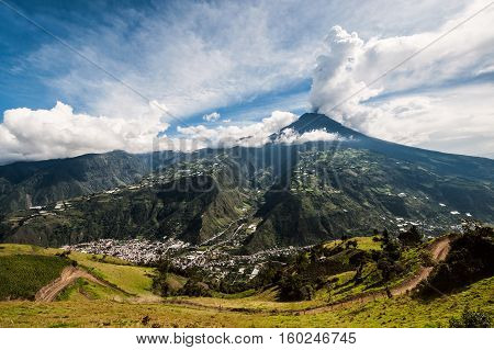 Eruption Of A Volcano Tungurahua, Cordillera Occidental Of The Andes Of Central Ecuador, South Ameri