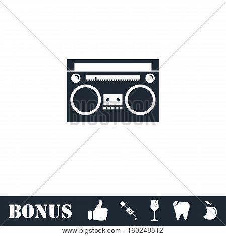 Cassette player icon flat. Vector illustration symbol and bonus pictogram