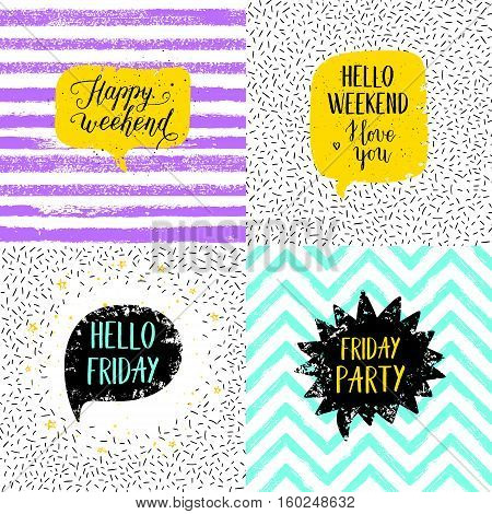 Hello Friday Happy weekend Happy Friday Today is going to be awesome greeting cards posters prints set. Vector hand lettering quote on stripe confetti background. poster