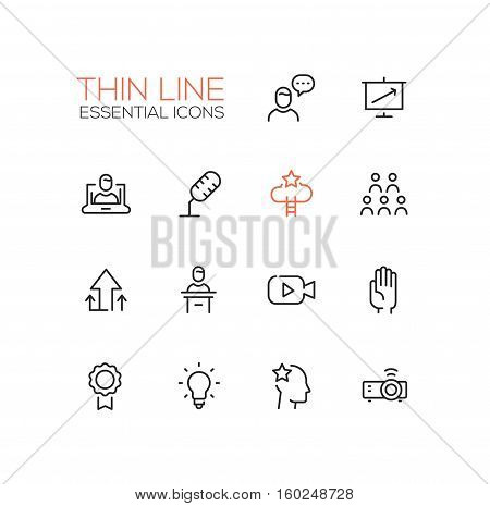 Business Training- modern vector simple thin line design icons and pictograms set. Speaker, chart, presentation, microphone, achievement, arrow up, tribune, video, hand, badge bulb idea projector