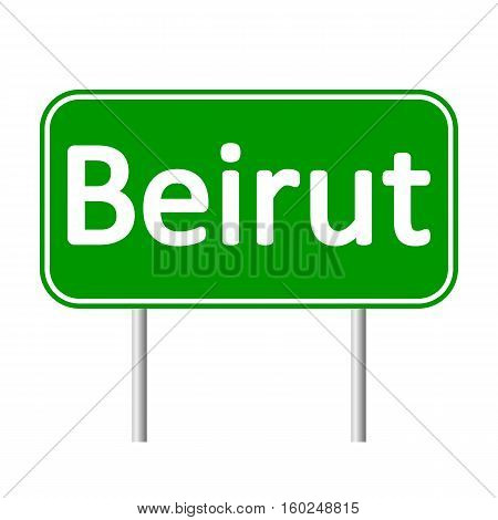 Beirut road sign isolated on white background.