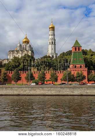 The architectural ensemble of the Ivan the Great Bell Tower in the Moscow Kremlin, vertical shot