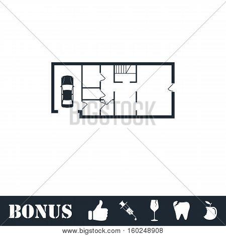House plan icon flat. Vector illustration symbol and bonus pictogram