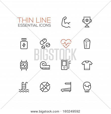 Sport training - vector thin line design icons and pictograms set. Strength, award, medicine, pulse, food, pulsometer, measuring tape, player, t-shirt, swimming, sugar free race track boxing glove
