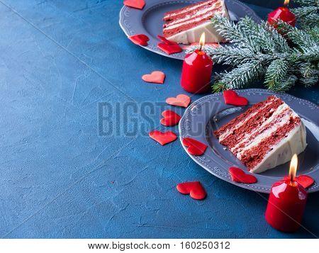 Red Velvet Cake Slice For Valentines Day Dessert