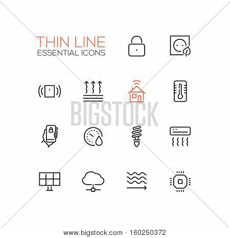 Smart House - modern vector simple thin line design icons and pictograms set. Padlock, energy saving, alarm system, climate control, mobile device, solar battery, heat leak, microchip
