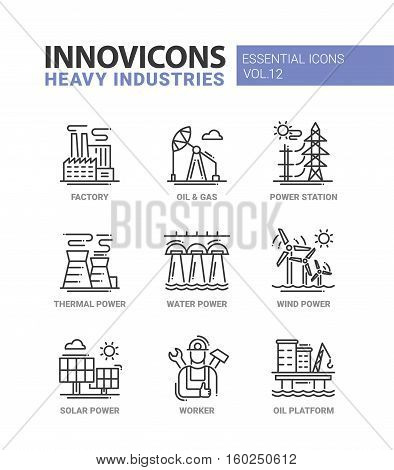 Set of modern vector heavy industry line flat design icons and pictograms, infographics objects and web elements. Factory, oil and gas, power station, thermal, water, wind, solar power, worker, oil platform