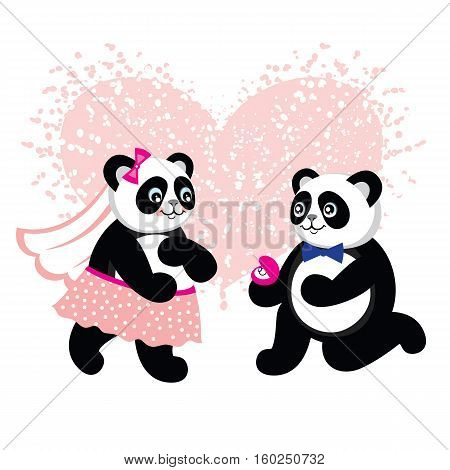 Cute kawaii groom and bride panda ready to get married. Greeting card for Valentine's Day, wedding. Cute greeting card for valentine's day with illustration of pandas with heart. Vector.