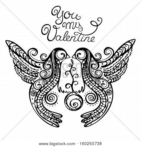 Bird logo. Loving Doves on a white background for a card declaration of love, Valentine's Day, invitation for a wedding, birthday. Black and white bird with beautiful wings. Vector Illustration