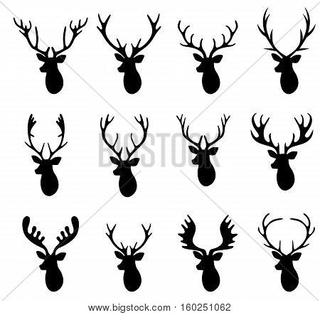 Deer Hunter Heads set. Logo design elements.